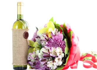 congratulations flowers and wine