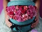 Roses in basket box