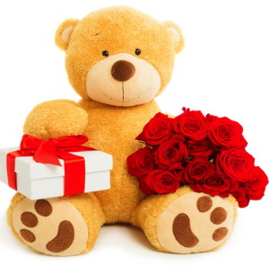 TEDDY BEAR WITH ROSES AND BOXdreamstime_s_36207444